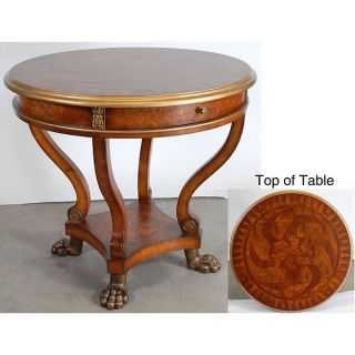 Burl Claw Foot Round Drum Foyer Table 37D Martelle