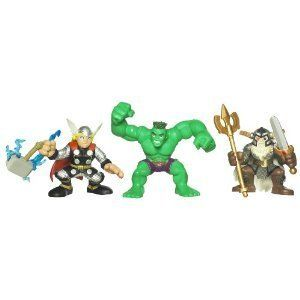 Marvel Super Hero Squad Movie Pack With Thor Hulk And Odin New Figures