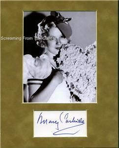 Mary Carlisle Hand Signed Matted Display Autographed