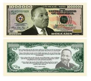 Martin Luther King Jr Novelty Million Dollar Bill