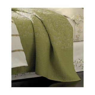 Martha Stewart Bedding Veranda Vines Green Queen Quilt Coverlet Shams