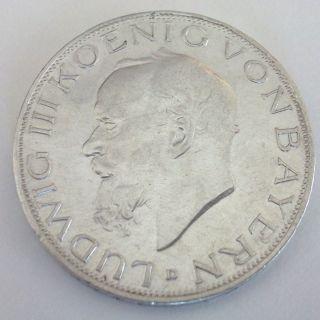 1914 D 3 Mark Germany Coin King of Bavaria Ludwig III Drei Mark