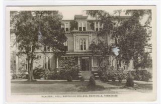 Memorial Hall Maryville College Tennessee RPPC Postcard