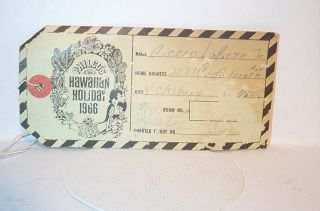 HAWAIIAN HOLIDAY 1966 Airline Baggage Tag PHILCOS Mary Ann Mobley