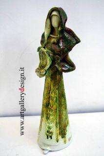 Donna in Costume Sardo Statuina in Ceramica Sirena Sassari Madonna