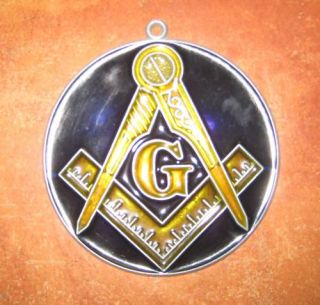Masonic Emblem Suncatcher Blue Gold
