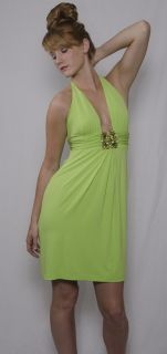 Mary L Couture Lime Green $286 Jewel Halter Dress Sz M