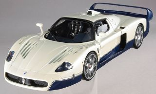 Maserati MC12 White with Blue Road Car 1 18th Scale by Hot Wheels