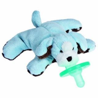 Mary Meyer Plush Baby Blue WubbaNub Puppy with Soothie Pacifier New