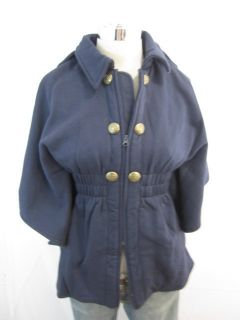 New Material Girl Navy Blue Double Button Zipper Poncho Jacket XLarge