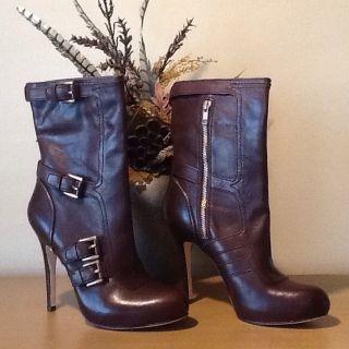 Coach MARSHA Brown Leather Half Calf High Heel Boots Bootie Size 6