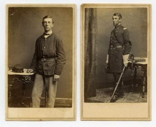 Mathew Brady CDVs of Father and Son Rhode Island Civil War Soldiers