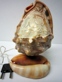 ANTIQUE VINTAGE CAMEO CARVED CONCH SHELL LAMP LADY W LYRE EUROPEAN
