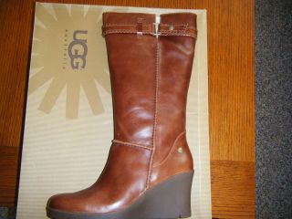 UGG Womens Maxene Tall Leather Boots Chestnut Size 10