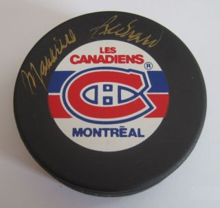 Maurice Richard Signed Montreal Canadiens Hockey Puck JSA Autheticated
