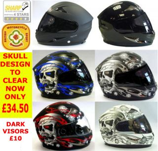 Viper RS 44 Skull and Matt Black Motorcycle motorbike Helmet Dark