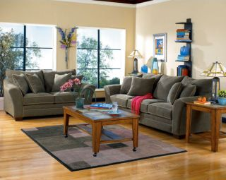 NORWICH   NEW CONTEMPORARY MICROFIBER OLIVE SOFA COUCH SET LIVING ROOM
