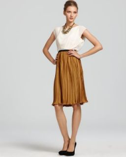 Max And Cleo NEW Chloe Ivory Chiffon Pleated Scoop Neck Cocktail Dress