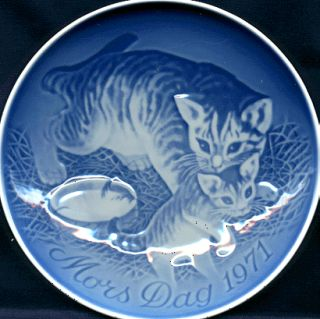 1971 Bing Grondahl Mothers Day Plate Cat and Kittens