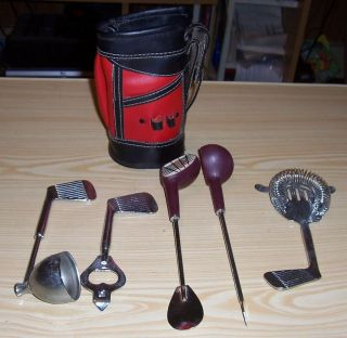 Golf Club Drink Cocktail Tool Set in Miniature Golf Bag Black and Red
