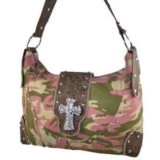Pink Green Camoflage Crystal Cross Handbag Purse