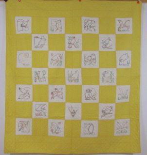 1930s Bird Sampler Embroidered Quilt Ruby McKim Yellow