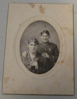 Vintage cabinet card Photo Two Adult Happy Men US Marine WW1 or