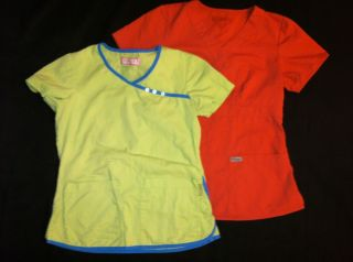 KOI Lime Green Scrubs Top XS & GREYS ANATOMY Rust Orange Scrubs Top S