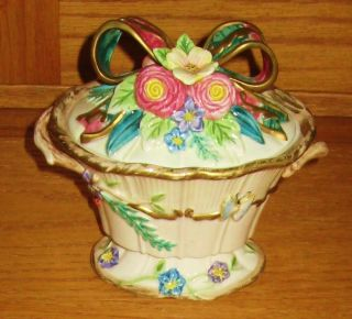 Fitz Floyd Woodland Spring Lidded Candy Dish Bowl Basket Shape Trinket