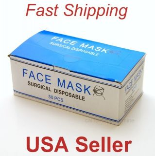 50 pcs Surgical Dental Medical FACE MASK Disposable Dust Filter Mouth