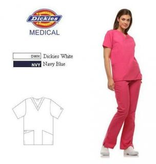 Dickies 10001 Medical Scrubs 2 Pocket V Neck Shirt Top