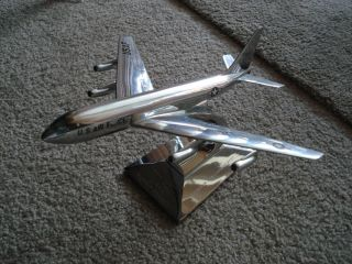 Chrome Desk top Model Boeing Jet Stratotanker Airplane Col Melcher