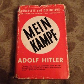 MEIN KAMPF Adolf Hitler 1939 Hardcover w/ Dust Jacket Cover Good