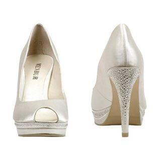 £75 Bridal Bling Crystal Satin Wedding Menbur Shoes Ivory UK4 8 37 41