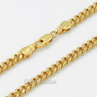 Mens Boys 18K Yellow Gold Filled Curb Link Chains Necklace GF