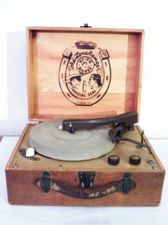 Vintage Lone Ranger Cowboy Record Player Decca Wooden Case Works Toy
