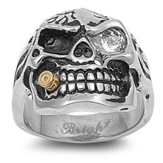 New Mens Stainless Steel Skull Bullet Biker Ring Sizes 9 15