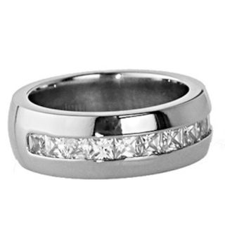 Princess Cubic Zirconia White Gold Color Mens Wedding Ring