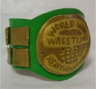 WWE WWF World Action Figure Belt Green Legends Hulk Hogan Iron Sheik