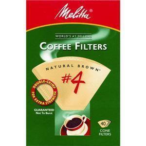 Melitta U s A Inc 624412 No 4 Cone Natural Brown Paper Coffee Filter