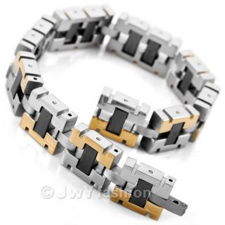 Mens Silver Gold Stainless Steel Bracelet Cuff Bangle Hand Chain VC844