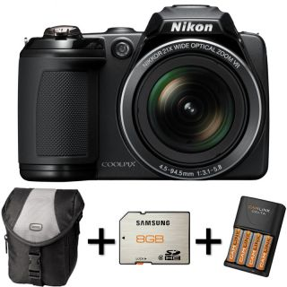 Nikon Coolpix L310 Black Case 8GB Memory Card 4XAA Battery and Charger