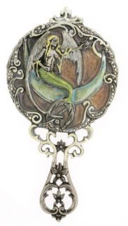 Kirks Folly Mermaid Lorelei Looking Glass Hand Mirror Silvertone