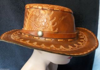 Incredible Leather COWBOY HAT Vintage Indian Stamped Western Hat Size