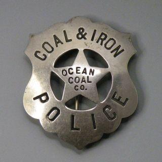 Coal Iron Police Badge Ocean Coal Company Westmoreland County Penna