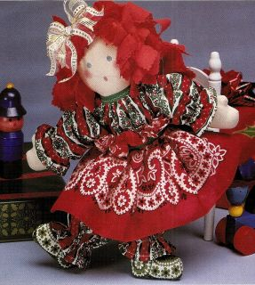 Merrie Christmas Rag Doll Vintage Sewing Pattern