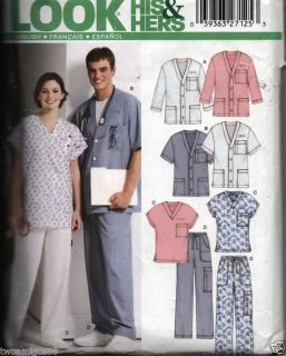 Sewing Pattern Medical Scrubs Mens Womens 5 Sizes