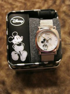 in metal keepsake box Mickey mouse silver tone watch Disney metal band