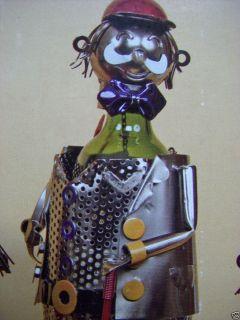 Wine Bottle Holder 2 Piece Golfer Metal Sculpture