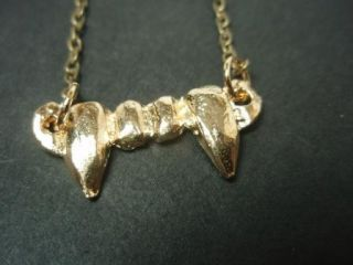 Vampire Teeth Fang Goth Necklace Gold Tone Metal